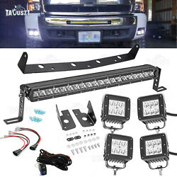 For 07-13 Chevy 1500/2500/3500 Hidden Bumper 20and039and039 Slim Led Light Bar+4x 3 Pod