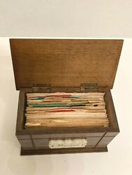 Vintage Wood Recipe Box Full Of Recipes, Most Hand Written Typed, Some Clipped