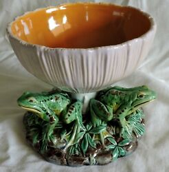 Minton Majolica Frogs And Muschroom Pedestal Bowl
