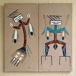 Native American Navajo Sand Paintings Yei Male And Female Signed Bb Benally 12x6