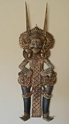 Vintage Barong Dancer Wall Art Sculpture Decandoacuter Wood Carved And Painted From Bali