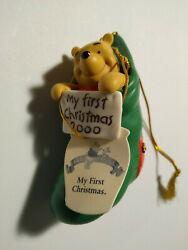 Winnie The Pooh And Friends My First Christmas Holiday Ornament 2000 Ceramic
