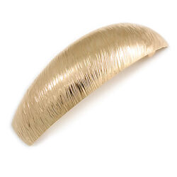 Gold Tone Scratched Large Barrette Hair Clip Grip - 90mm Across
