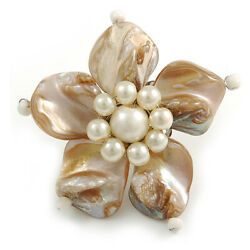 Antique White Shell And Cream Faux Pearl Flower Rings Silver Tone - 50mm