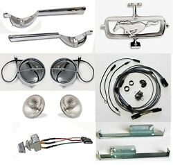 New 1965 Ford Mustang Gt Fog Light Kit W/ Switch Bulbs Brackets Horse Corral