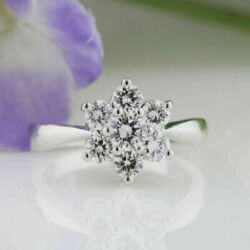 Solid 950 Platinum Ring 1.08 Ct Real Diamond Wedding Rings For Bridal Size 7 8 9