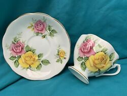 Queen Anne Large Yellow And Pink Roses Tea Cup And Saucer