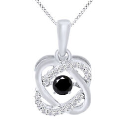 6 Ct Black Genuine Moissanite Sterling Silver Double Infinity Solitaire Pendant