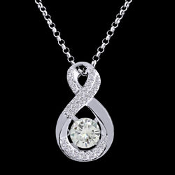 6 Ct Genuine Moissanite Infinity Solitaire Pendant Necklace In Sterling Silver