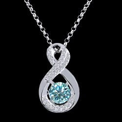 6 Ct Light Blue Genuine Moissanite Infinity Solitaire Pendant In Sterling Silver