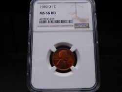 1949-d Ms66rd Red Lincoln Wheat Cent Ngc Certified Superb Gem - Fantastic Coin