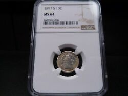 1897-s Ms64 Barber Dime Ngc Certified - Bright White/light Gold Tone/pq