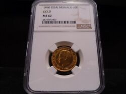 1950 Ms62 Monaco Gold 10 Francs Essai Pattern Ngc Certified - Rare Gold Coin