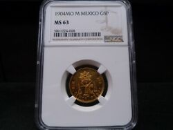 1904mo M Ms63 Gold 5 Pesos Mexico City Mint Ngc Certified - Premium Quality