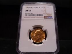 1927sa Ms64 South Africa 1 Sovereign Gold Coin Ngc Certified - Fantastic Coin