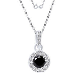 6 Ct Round Black Moissanite Halo Pendant Necklace In Sterling Silver