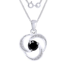 6 Ct Black Moissanite Swirl Halo Pendant Necklace In Sterling Silver