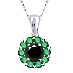 6 Ct Black Moissanite And Emerald Sterling Silver Halo Pendant Necklace