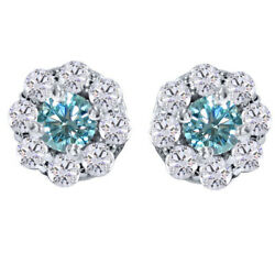 Sterling Silver 3.5 Ct Round Light Blue Genuine Moissanite Pave Halo Earrings