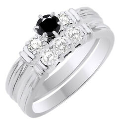 2.75 Ct Round Black Moissanite Three Stone Bridal Set Ring In Sterling Silver