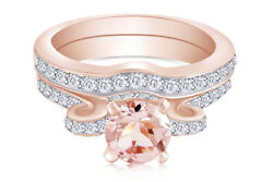 Morganite And 1/2 Ctw Diamond Vintage-style Bow Wedding Ring 14k Rose Gold