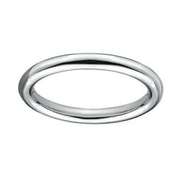 2.5mm Comfort Fit High Polish Round Carved 14k White Gold Band Ring Sz 6