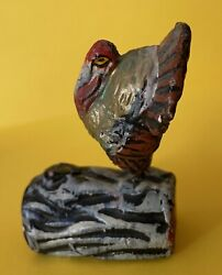 Rare Composition Miniature Turkey On Log Candy Container Thanksgiving Nodder