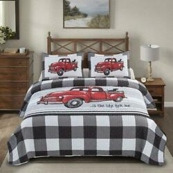 Red Farmhouse Farm Living Printed Quilt Set Country Vintage Cottage