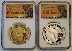 2017 Tanzania 2 Pc 1 Oz Proof Gold And Silver Leopard Coins Set Ngc Pf69 Big Five