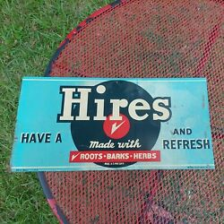 """Vintage Hires Root Beer Tin Advertising Sign Donaldson Art Sign Co. 17.5""""x8.5"""""""