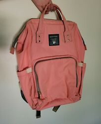 SUNVENO Diaper Bag Backpack Large Capacity Baby Bags Multifunction Pink Color $29.99