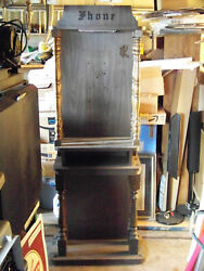 1970's- 80's Vintage Heavy Wood Telephone Booth/stand With Lighted Hood, Rare