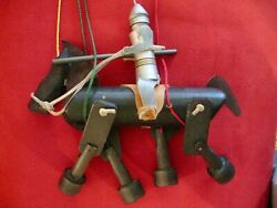 Wooden Horse Riding Knight Marionette String Puppet Vintage