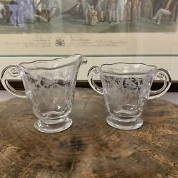 Fostoria Navarre Clear Footed Creamer And Sugar Bowl Etched Bouquet Flowers