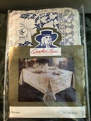 Vintage Quaker Lace Oblong Tablecloth 72x90 Natural White House New