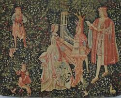 Impressive Vintage French Printed Woven 'tapestry' Wall Hanging, Medieval Scene
