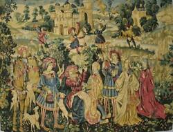 Fabulous Vintage French Printed Woven 'tapestry' Wall Hanging, Medieval Scene