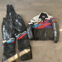 Vintage Polaris Snowmobile Lined Leather Jacket And Snow Pants Women's L