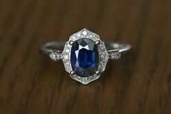 2.25ct Gia Certified Natural Royal Blue Oval Sapphire And Diamond 18k W Gold Ring