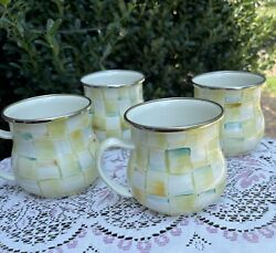 Mackenzie Childs Parchment Check Enamel Mugs Hand-painted Retired Pattern