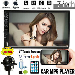 2din 7 Car Radio Stereo Mp5 Player Touchscreen + Cam Mirrorlink For Android Ios