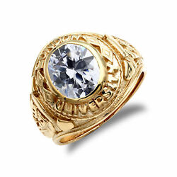Mens 9ct Gold Cz Solitaire Oval University College Ring