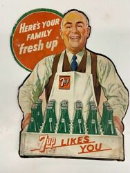 Rare1948 Vintage 7up Advertising Sign 12x8 3/4andrdquo