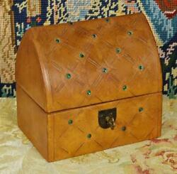 Gorgeous Antique French Bejewelled Gothic Leather Jewellery Box / Treasure Chest
