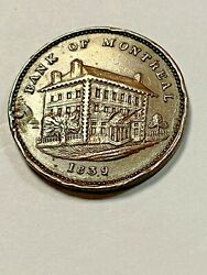 Canada Token - Lc-10b1 - 1839 Side View Half Penny. Holed And Plugged At 9 Oand039clock