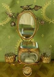 Amazing Antique French Toleware Jewellery /trinket Stand, Mirror And Glass Casket