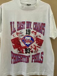 Vintage Phillies T Shirt Size Large 1993 Team World Series Division Champs Ss