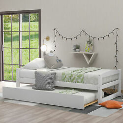 Twin Size Daybed Day Bed W/ Trundle Sofa Bed Wood Bed Frame Bedroom Furniture Us