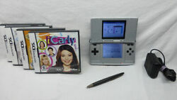 Nintendo Gameboy Ds Silver W/ 4 Games Ac Adaptor And Stylist Icarly Animal Doctor