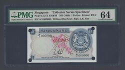 Singapore One Dollar Nd1989 P1acs1 Specimen Uncirculated
